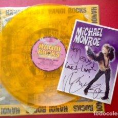 Autógrafos de Música : HANOI ROCKS VINILO BANGKOK SHOCKS SAIGON SHAKES + FOTO AMBOS FIRMADOS POR MICHAEL MONROE. Lote 143404790