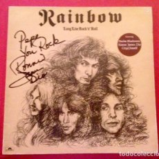 Autógrafos de Música : DIO RONNIE JAMES DIO AUTOGRAFO - VINILO LP DE RAINBOU LONG LIVE ROCK N ROLL FIRMADO POR DIO. Lote 155597318