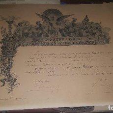 Autógrafos de Música : DIPLOMA PRIMER PREMIO SOLFEO, CONSERVATORIO DE MUSICA Y DECLAMACION, 1909, FIRMA DE TOMAS BRETON . Lote 159397430