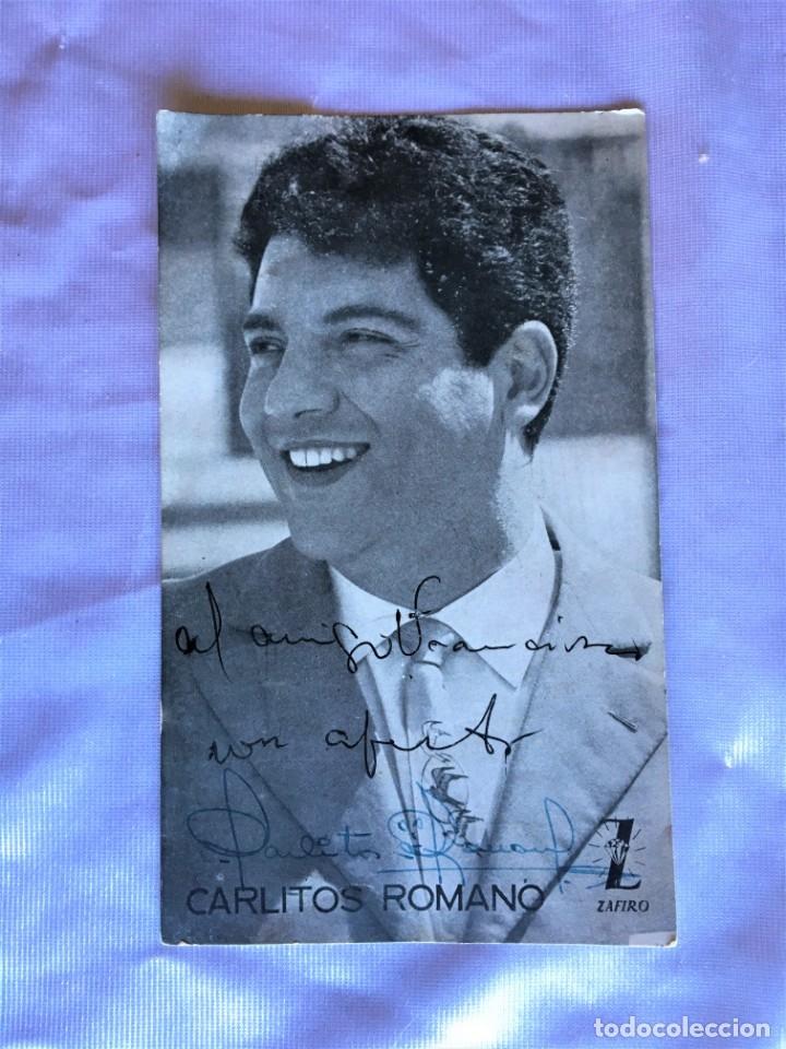 AUTÓGRAFO DEL CANTANTE CARLITOS ROMANO A UN AMIGO LLAMADO FRANCISCO (Música - Autógrafos de Cantantes )