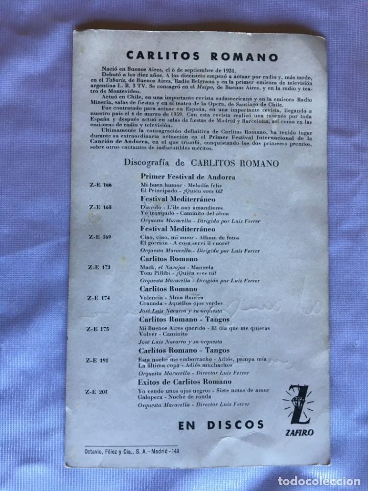 Autógrafos de Música : Autógrafo del cantante Carlitos Romano a un amigo llamado Francisco - Foto 2 - 175606448