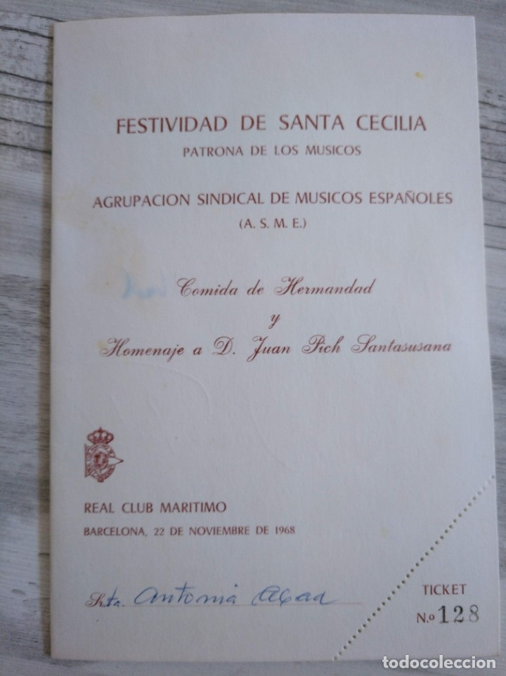 Autógrafos de Música : RARO: AUTÓGRAFO DE JOAN PICH I SANTASUSANA EN LA COMIDA HOMENAJE A ÉL MISMO (BARCELONA, 1968) - Foto 3 - 177826145