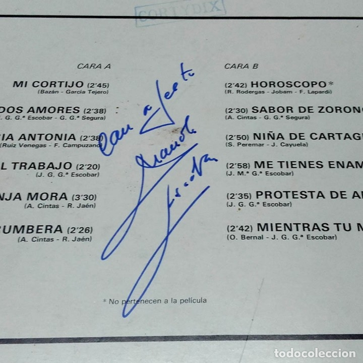Autógrafos de Música : Autógrafo original de Manolo Escobar, Entre dos amores, 1972, Vinilo LP - Foto 3 - 178666777