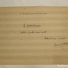 Autógrafos de Música : LLUIS MILLET. IN PARADISUM. MOTET A QUATRE VEUS MIXTES, MANUSCRITO. A LA SANTA MEMORIA DEL MEU PARE. Lote 179085926