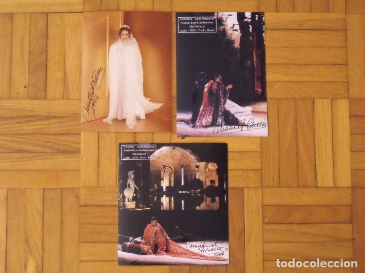 MONTSERRAT CABALLÉ. LOTE 3 AUTÓGRAFOS, FIRMAS ORIGINALES. 1993 Y CLEOPATRA. 2002. ROMA. TIVOLI (Música - Autógrafos de Cantantes )