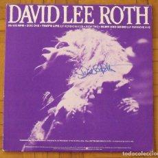 Autógrafos de Música : DAVID LEE ROTH. VAN HALEN. AUTÓGRAFO, FIRMA ORIGINAL. LP EAT EM AND SMILE. WARNER BROS. 1986. USA.. Lote 210792272