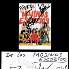 Autógrafos de Música : *** TARJETA CON AUTÓGRAFOS DE LOS MOJINOS ESCOZIOS Y EN SOBRE DE MELIÁ LEBREROS 1998 ***. Lote 195110865