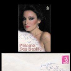 Autógrafos de Música : *** AUTÓGRAFOS DE PALOMA SAN BASILIO 1986 SOBRE TARJETA Y SOBRE DEL MELIÁ LEBREROS (SEVILLA) ***. Lote 195113015