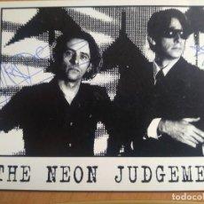 Autógrafos de Música : THE NEON JUDGEMENT FOTO PROMOCIONAL AUTOGRAFO ORIGINAL DIRK DA DAVO TB FRANK PIEZA UNICA. Lote 205019273