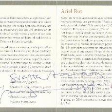 Autógrafos de Música : ARIEL ROT. SÓLO ROT. AUTÓGRAFO, FIRMA ORIGINAL. DÍPTICO CULTURAL CAJA BURGOS. 2010. TEQUILA.. Lote 207823900