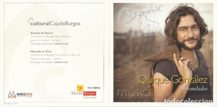 QUIQUE GONZÁLEZ. DESBANDADOS. AUTÓGRAFO, FIRMA ORIGINAL. DÍPTICO CULTURAL CAJA BURGOS. 2010. (Música - Autógrafos de Cantantes )
