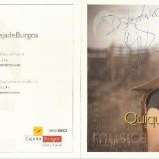 Autógrafos de Música : QUIQUE GONZÁLEZ. DESBANDADOS. AUTÓGRAFO, FIRMA ORIGINAL. DÍPTICO CULTURAL CAJA BURGOS. 2010.. Lote 207824792