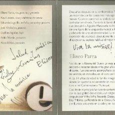 Autógrafos de Música : DÍEZ. ELISEO PARRA SEPTETO. AUTÓGRAFOS DE ELISEO PARRA, XAVI LOZANO, EDUARDO LAGUILLO, ETC.. Lote 207828466