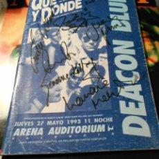 Autógrafos de Música : DEACON BLUE AUTOGRAFO FIRMADO ORIGINAL CONCIERTO ARENA VALENCIA AUDITORIUM 1993 SPAIN PIEZA UNICA. Lote 212933485