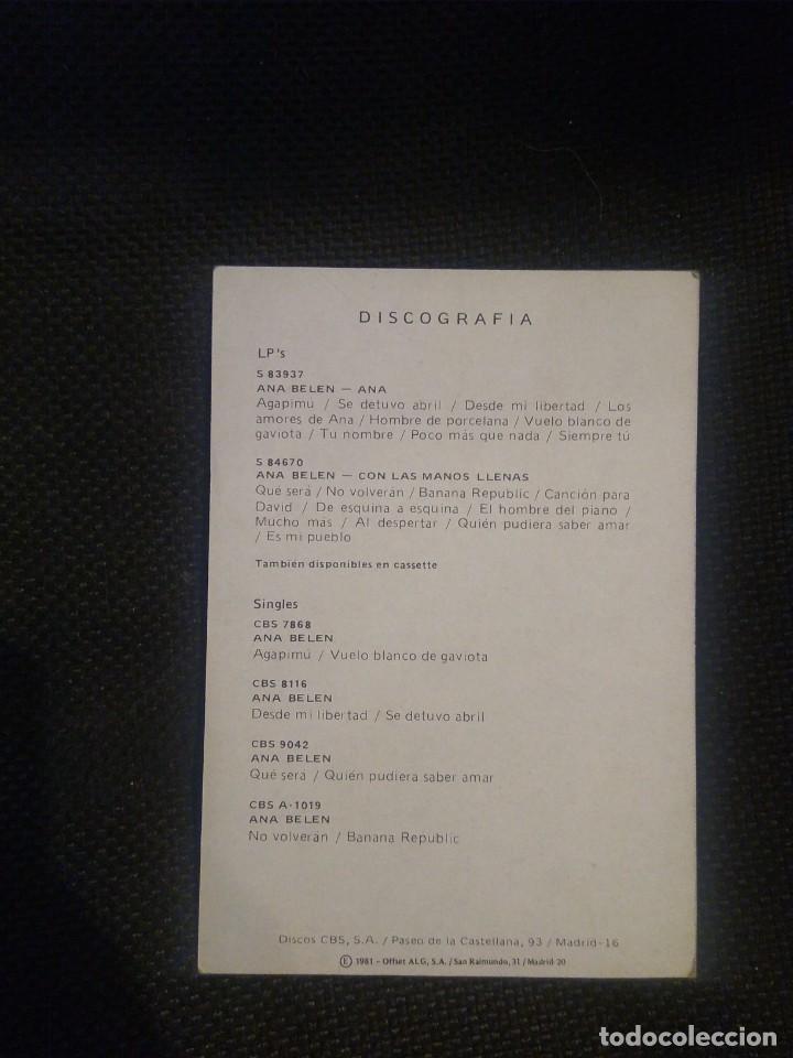 Autógrafos de Música : Ana Belén postal con autógrafo original Discografia en el reverso. - Foto 2 - 217468501