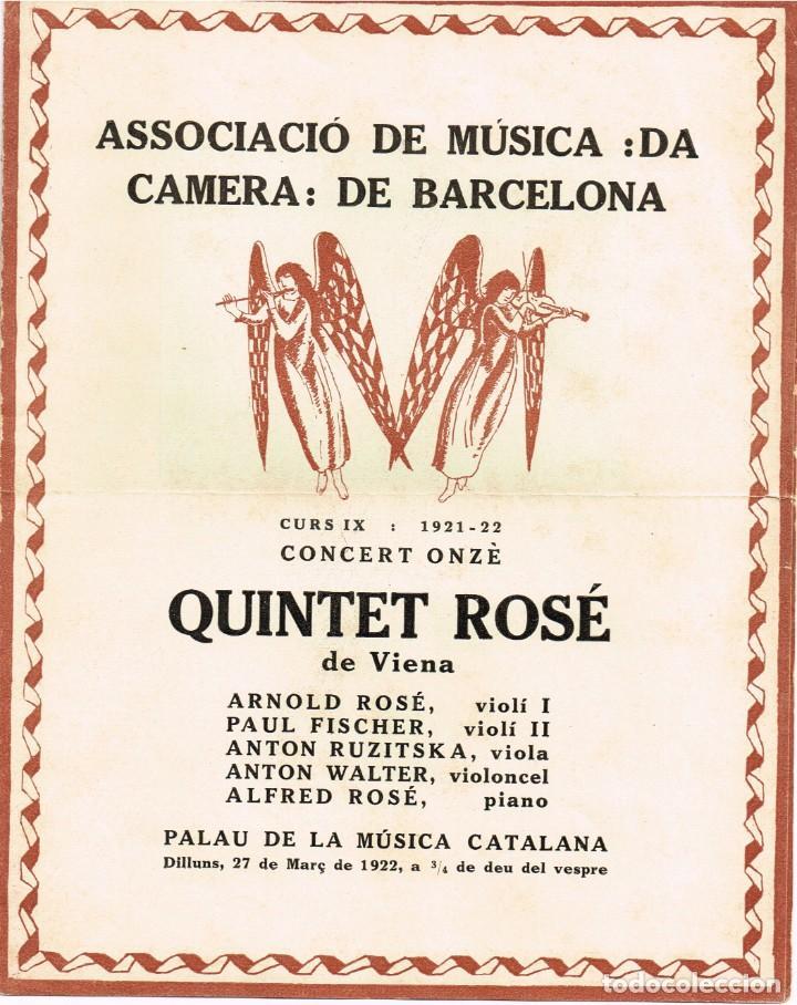 """1921 1922 ASSOCIACIÓ DE MÚSICA """"DA CAMERA"""" QUINTET ROSÉ DE VIENA - IMP. OLIVA DE VILANOVA (Música - Autógrafos de Cantantes )"""