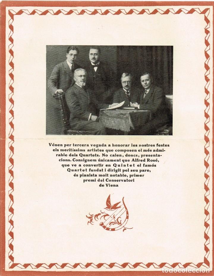 """Autógrafos de Música : 1921 1922 Associació de Música """"Da Camera"""" QUINTET ROSÉ de Viena - Imp. Oliva de Vilanova - Foto 2 - 222613916"""