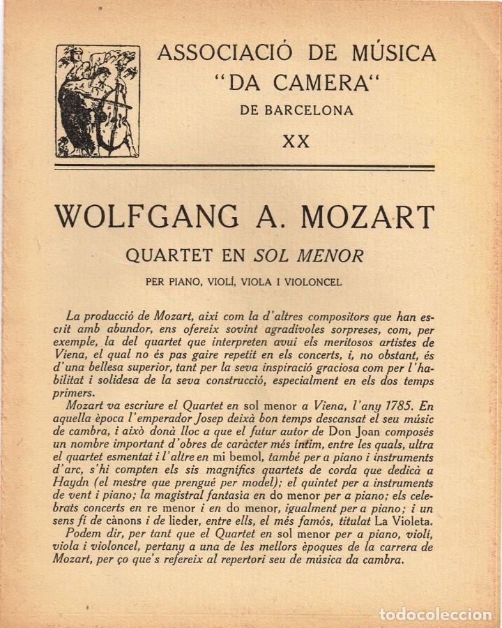 """Autógrafos de Música : 1921 1922 Associació de Música """"Da Camera"""" QUINTET ROSÉ de Viena - Imp. Oliva de Vilanova - Foto 4 - 222613916"""