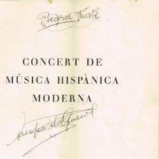 Autógrafos de Música : 1936 (O ANTERIOR) SIMC – SEMANA INTERNACIONAL DE MÚSICA DE CÁMARA CONCERT MÚSICA HISPÀNICA MODERNA. Lote 222736522