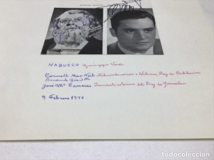 AUTOGRAFOS CANTANTES DE OPERA - NABUCCO AÑO 1970- CORNELL MAC NEIL-BONALDO GIAIOTTI-JOSE Mª CARRERAS (Música - Autógrafos de Cantantes )