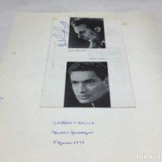 Autógrafos de Música : AUTOGRAFOS CANTANTES DE OPERA - SANSON Y DALILA AÑO 1970-ANTON GUADAGNO-IRVING GUTTMAN. Lote 222901026