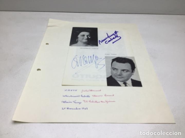 AUTOGRAFOS CANTANTES DE OPERA - MANON AÑO 1968-MONSERRAT CABALLER- ALAIN VANZO (Música - Autógrafos de Cantantes )