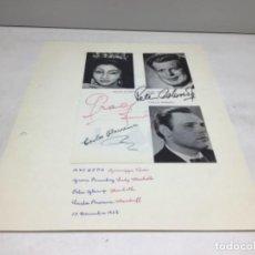 Autógrafos de Música : AUTOGRAFOS CANTANTES DE OPERA - MACBETH AÑO 1968- CARLOS BARRENA-GRACE BUMBRY-PETER GLOSSOP. Lote 222903965