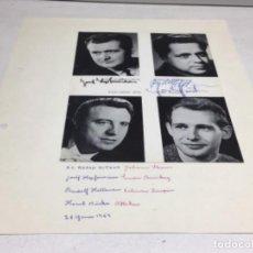 Autógrafos de Música : AUTOGRAFOS CANTANTES DE OPERA-EL BARON GITANO AÑO 1969-JOSEF HOPTER WIESER-RUDOLF HOLTENAU-HORT HUSK. Lote 222904230