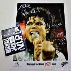 """Autógrafos de Música : AUTOGRAFO ORIGINAL DE MICHAEL JACKSON FIRMADO A MANO + PASE """"V.I.P."""" GIRA """"BAD TOUR"""" 1988-1989 + COA. Lote 234966255"""