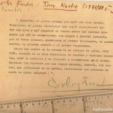 "Autógrafos de Música : 1977 AUTÓGRAFO DE CARLOS FUENTES AUTOR DE ""TERRA NOSTRA"" SOBRE ESCRITO MECANOGRAFIADO EN CARTULINA. Lote 235941305"