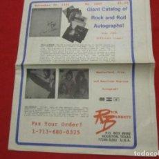 Autógrafos de Música : CATALOGO DE AUTOGRAFOS ROCK AND ROLL AÑO 1991. Lote 239882495