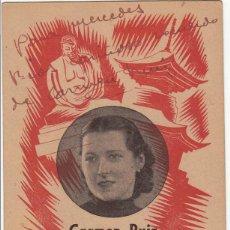 Autógrafos de Música : CARMEN RUIZ «TAKAO» POSTAL PUBLICITARIA TEATRE VICTÒRIA BARCELONA 1941 AUTÓGRAFO TIPLE ZARZUELA. Lote 252219085