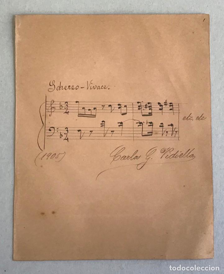 PARTITURA MANUSCRITA ORIGINAL FIRMADA POR EL MÚSICO CARLO G. VIDIELLA. 1905. 20X16 CM. (Música - Autógrafos de Cantantes )