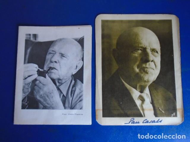 (FOT-210401)LOTE DE TARJETAS CON FOTOGRAFIAS DE PAU CASALS FIRMAS ORIGINALES (Música - Autógrafos de Cantantes )