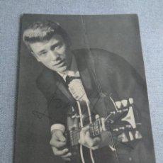 Autógrafos de Música : JOHNNY HALLYDAY. FICHA EXCLUSIVA DE DISCOS PHILIPS. DISCOGRAFÍA. AÑOS 60 FIRMADA. MUY ESCASA. Lote 262341130