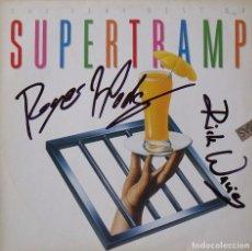 Autógrafos de Música : THE VERY BEST OF SUPERTRAMP. AUTÓGRAFOS ROGER HODGSON Y RICK DAVIES. AM RECORDS. 1991. 31X31 CM. LP.. Lote 262412535