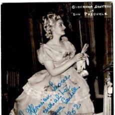 """Autógrafos de Música : SOPRANO GIOVANNA SANTELLI IN """"DON PASQUALE"""" - DEDICATORIA CON AUTÓGRAFO 1962 - 147X106MM. - INÉDITA. Lote 263299550"""