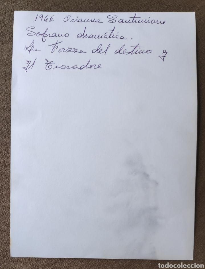 Autógrafos de Música : ORIANNA SANTUNIONE SOPRANO FOTOGRAFÍA FIRMADA Y DEDICADA OPERA 1965 - Foto 2 - 265779254