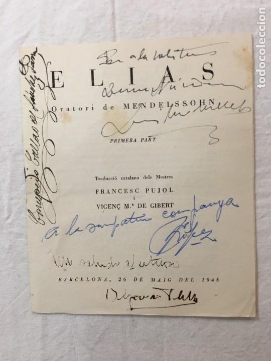 PROGRAMA. ELIAS. MENDELSSOHN. 4 INTERESANTES DED. AUTÓGRAFAS. CONCEPCIÓN CALLAO, LÓPEZ, BARNA, 1948 (Música - Autógrafos de Cantantes )