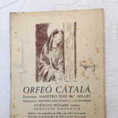 Autógrafos de Música : PROGRAMA. ORFEÓ CATALÀ. 2 FIRMAS. J. BRUMAIRE (SOPRANO). F. POULENC (COMPOSITOR). BARCELONA, 1958.. Lote 277605288