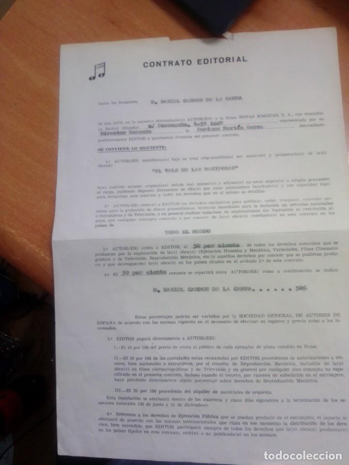 CONTRATO EDITORIAL FIRMADO POR DANNY DANIEL DE LA CANCION EL VALS DE LAS MARIPOSAS (Música - Autógrafos de Cantantes )