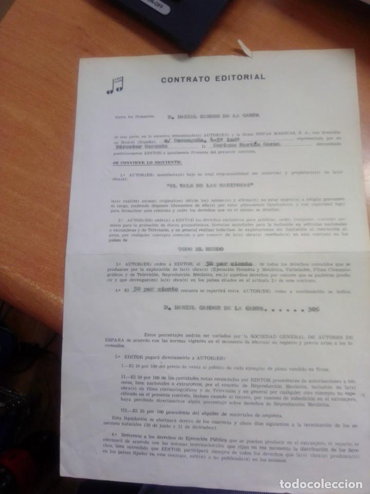 Autógrafos de Música : CONTRATO EDITORIAL FIRMADO POR DANNY DANIEL DE LA CANCION EL VALS DE LAS MARIPOSAS - Foto 3 - 277730913