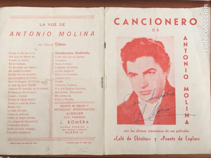 ANTONIO MOLINA CANCIONERO ORIGINAL ANTIGUO CON AUTOGRAFO FIRMA ORIGINAL (Música - Autógrafos de Cantantes )