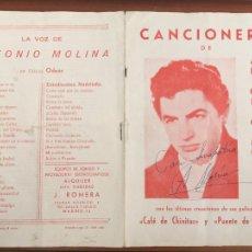 Autógrafos de Música : ANTONIO MOLINA CANCIONERO ORIGINAL ANTIGUO CON AUTOGRAFO FIRMA ORIGINAL. Lote 289835773