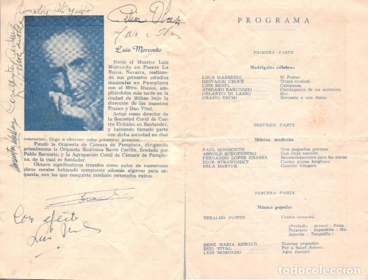 1954 AUTOGRAFO LUIS MORONDO Y OTROS DE AGRUPACION CORAL DE CAMARA PAMPLONA PRESENTACION EN URUGUAY (Música - Autógrafos de Cantantes )