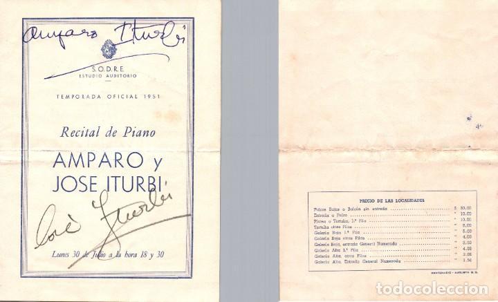 1951 AUTOGRAFO AMPARO Y JOSE ITURBI PRESENTACION EN URUGUAY PROGRAMA (Música - Autógrafos de Cantantes )