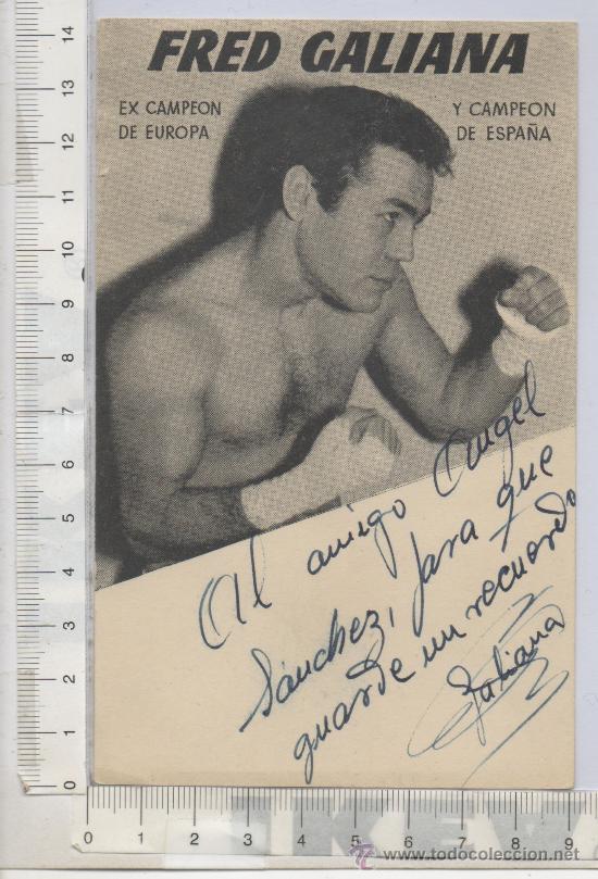 PUBLICIDAD TAMAÑO TARJETA POSTAL DEL BOXEADOR FRED GALIANA BOXEO DEDICADA FIRMADA AUTOGRAFO DEPORTES (Coleccionismo Deportivo - Documentos de Deportes - Autógrafos)