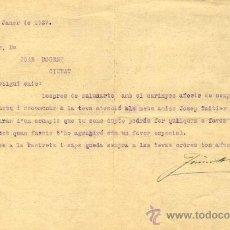 Coleccionismo deportivo: FUTBOL. CARTA DE 1927 AUTÓGRAFA DE JACINTO MARISTANY SOBRE JOSEP SAMITIER Y JOSEP PIERA DEL F.C.B.. Lote 34318476
