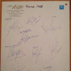 Coleccionismo deportivo: FIRMAS DE LA SELECCIÓN ESPAÑOLA DE FÚTBOL DE 1988. Lote 35557322