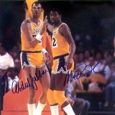 Coleccionismo deportivo: NBA AUTOGRAFOS DE MAGIC JOHNSON Y KAREEM ABDUL JABBAR. Lote 36548832